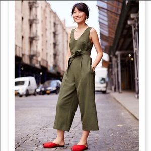 Club Monaco Torela Jumpsuit Belted Olive Green 12